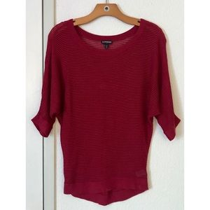 Scoop Dolman Knit Cranberry Sweater by Express
